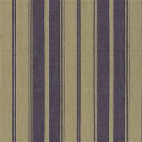 Gazzi - Violet - Cotton and jute blended together into a vertically striped fabric with a simple design in olive green and indigo colours