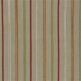 Fieran - Rose - Vertical cream, light green, burgundy and gold stripes on a cement grey cotton and jute blend fabric background