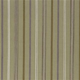 Fieran - Violet - Sage green, olive green, light grey, black and white stripes of different widths printed on fabric made from cotton and jute