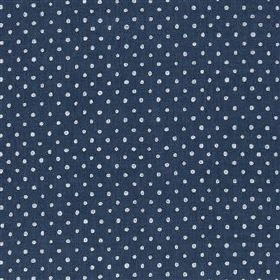 Marese - Woad - Tiny white dots arranged in neat rows over a very dark navy blue coloured viscose and linen blend fabric background