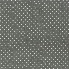 Marese - Slate - Viscose and linen blend fabric made in off-white and dark grey, with a regular, small polka dot pattern arranged in rows