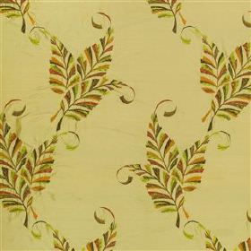 Delacroix - Orange Blossom - Warm shades of green and gold making up a stripy leaf pattern embroidered on light yellow-green 100% silk fabri