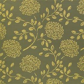 Celestine - Slate - 100% silk fabric made in dark green-grey & golden yellow with a repeated design of stylised rose bouquets & small leaves