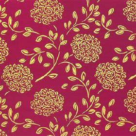 Celestine - Grape - Lemon yellow and cherry coloured 100% silk fabric printed repeatedly with a stylised rose bouquet and small leaf pattern