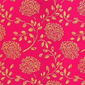 Celestine - Cassis - Golden yellow bouquets of roses and small leaves printed in a stylised pattern on 100% silk fabric in shocking red-pink