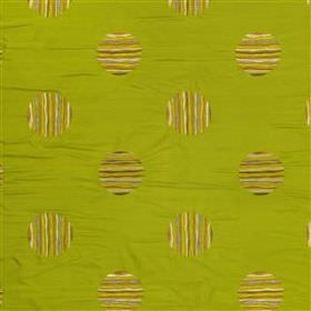 Liana - Lime - Stripy polka dots embroidered in several golden green shades on a pistachio green coloured 100% silk fabric background