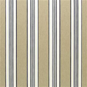 Wilcott - Midnight - Vertically striped viscose, cotton, polyester and linen blend fabric with a regular design in fawn, white, grey & black
