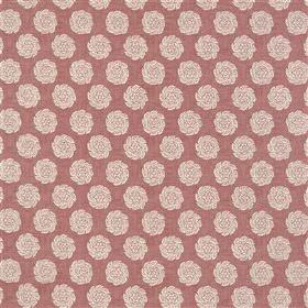 Barrameda - Musk - 100% cotton fabric made in dusky red, behind a repeated pattern of rows of individual creamy red coloured simple roses