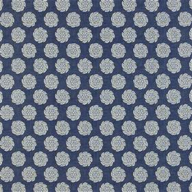 Barrameda - Denim - Fabric made from rich navy blue and light grey coloured, repeated simple rose print patterned 100% cotton