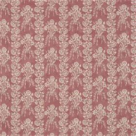 Amandine - Musk - Pale grey flowers and leaves arranged in rows and in bouquets on light red linen, cotton and nylon blend fabric