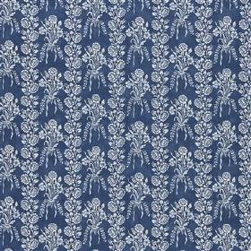 Amandine - Denim - Fabric made from linen, cotton and nylon with pale grey-white bouquets and rows of flowers & leaves on a navy background