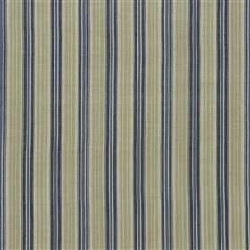 Dunevan - Denim - Cotton and jute blend fabric made with an evenly spaced vertical stripe design in dark grey, light green and dusky blue
