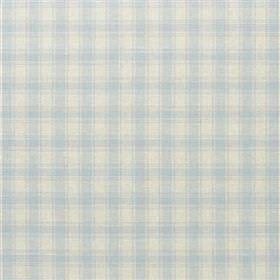 Penton - Sky - Fabric made with a simple checked design from a blend of viscose, linen, polyester and cotton in pale blue & grey shades