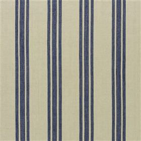 Castlewrey - Navy - Midnight blue coloured stripes printed in groups of three down putty coloured fabric made with a jute and cotton blend