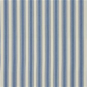 Pierscourt - Sky - Denim blue and off-white coloured 100% cotton fabric featuring a regular, evenly spaced vertical design