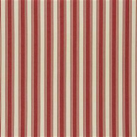 Pierscourt - Poppy - 100% cotton fabric made in burgundy and off-white, with a pattern of regular, evenly spaced vertical stripes
