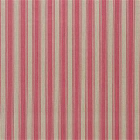 Pierscourt - Musk - Fabric made entirely from strawberry and light grey coloured vertically striped cotton with a simple, regular design