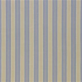 Furle - Fjord - Light shades of dusky blue and beige making up a vertical stripe design with bands of even widths on 100% cotton fabric