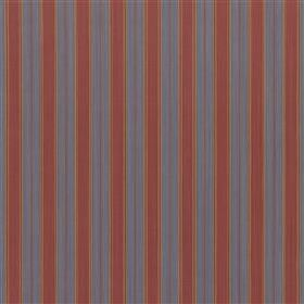 Furle - Iris - Fabric made entirely from cotton with a regular vertical stripe design in dark shades of red, blue and copper