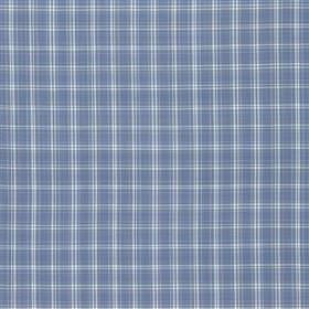 Dunsford Plaid - Sky - A simple pale blue-white coloured checked grid pattern printed on a denim blue coloured 100% cotton fabric background