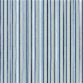 Usk - Sky - Various different bright and light shades of blue and grey in a thin vertical stripe pattern on cotton and linen fabric