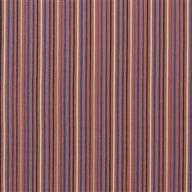 Usk - Poppy - Cotton and linen fabric printed with thin salmon pink, purple, dark pink, cream and dark grey coloured stripes