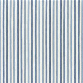 Exmere - Denim - Pairs of dove grey stripes alternating with pairs of dark grey stripes on white fabric made from various materials
