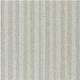 Caudle - Sky - Vertical stripes in ash grey and cement grey running vertically down fabric made from viscose, linen, polyester & cotton