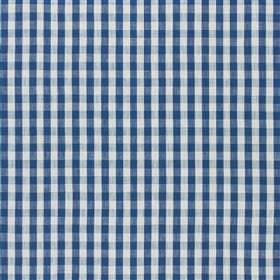 Aynsham - Sky - Viscose and linen blend fabric featuring a small, gingham style navy blue and white checked design