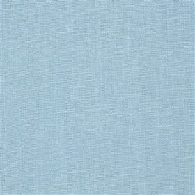 Highland Linen - Sky - Light baby blue coloured fabric containing a blend of linen and viscose