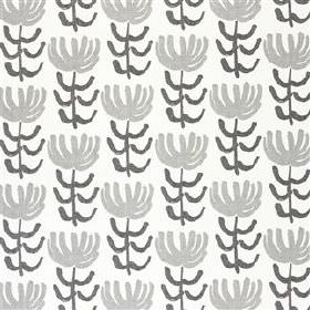 Pierrette - Slate - A simple, repeated, stylised floral print on viscose and linen blend fabric, made in white, pale grey and dark grey