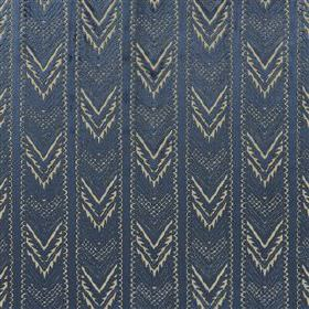 Tippolo - Ink - Chevron patterned stripes running down viscose, linen and polyester blend fabric in navy blue and a pale shade of grey