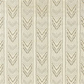 Tippolo - Natural - White and light grey chevron patterned stripes running vertically down viscose, linen and polyester blend fabric