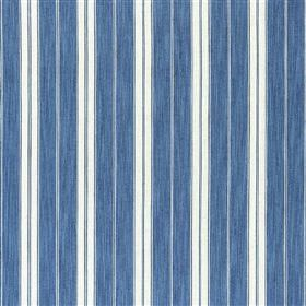 Burgee - Denim - Wide denim blue, thin white and narrow light blue stripes running vertically down cotton and jute blend fabric