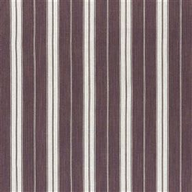Burgee - Damson - Vertically striped cotton and jute blend fabric featuring a regular design in dark purple, white and light lavender-grey