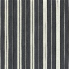 Burgee - Coal - Cotton and jute blend fabric made with a white, light grey and charcoal coloured regular vertical stripe design