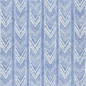Vignatella - Denim - Patterned white chevrons arranged in stripes over a powder blue coloured viscose and linen blend fabric background