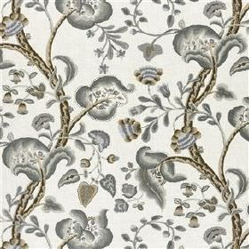 Marlena - Charcoal - Various light and dark shades of grey making up an ornate, curving floral pattern on viscose and linen blend fabric