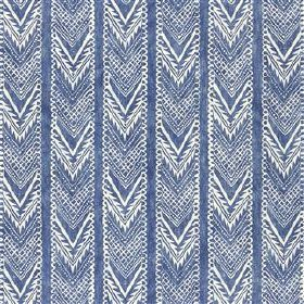Vignatella - Woad - Denim blue coloured viscose and linen blend fabric behind a vertically striped design of patterned chevrons
