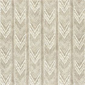 Vignatella - Latte - Fabric made from viscose and linen with a design of patterned chevrons arranged in stripes, made in white and light gre