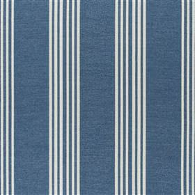 Malantre - Woad - Clusters of thin white stripes creating a vertical pattern on denim blue fabric blended from various different materials