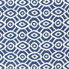 Latea - Indigo - Concentric circles and diamond shapes making a denim blue and white geometric design on viscose and linen blend fabric