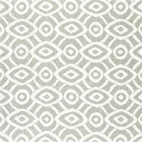 Latea - Dove - Viscose and linen blend fabric made in light grey and white, with a geometric design of concentric circles and diamonds