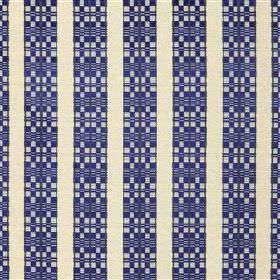 Septima - Ink - Geometric patterned navy blue coloured stripes running vertically down ivory coloured fabric made from various materials