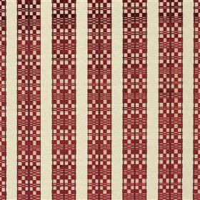 Septima - Claret - Burgundy and off-white fabric blended from various different materials, featuring plain and geometric patterned stripes