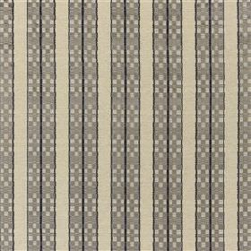 Septima - Dove - Plain and geometric patterned stripes on fabric made from viscose, polyester, linen & cotton, in several shades of grey