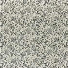 Cynthia - Slate - Fabric made from linen, polyester, viscose and cotton in light shades of grey, with a subtle, delicate paisley style patte
