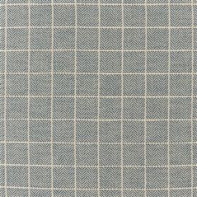 Branette - Skylark - A simple, thin white grid placed over a mid-grey herringbone patterned fabric blended from several different materials