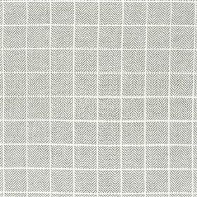 Branette - Steel - Several different materials blended into a light grey and white fabric featuring a thin grid over a herringbone pattern