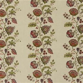Kamala - Damson - Dark shades of red and green making up floral embroidered stripes on off-white coloured 100% linen fabric